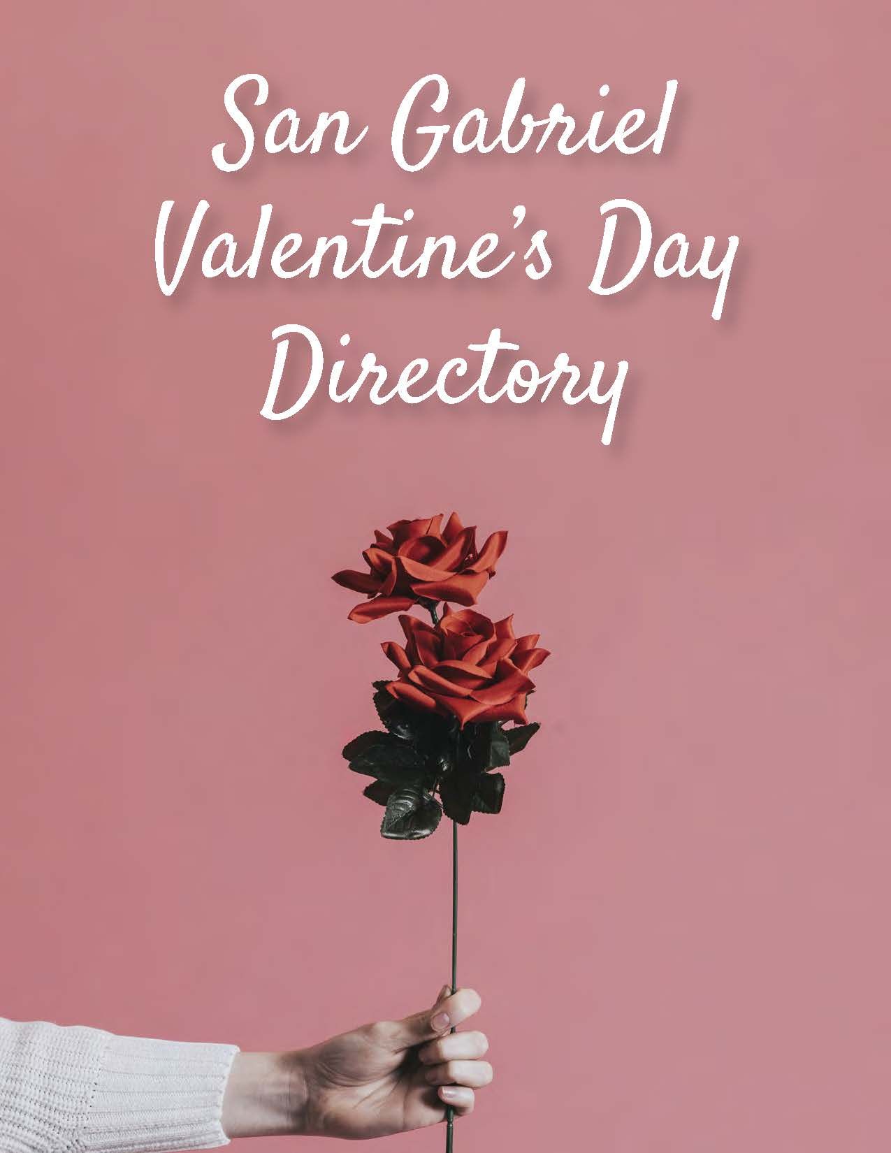 The Valentines Day Directory with hand holding long stem rose